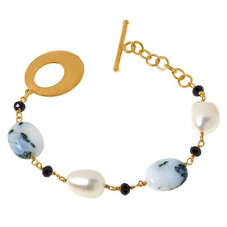 Rarities Goldtone Opal, Cultured Pearl and Gemstone Bracelet