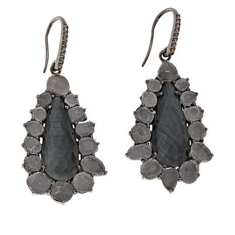 Rarities Gray Cat's Eye Quartz and Polki Diamond Earrings
