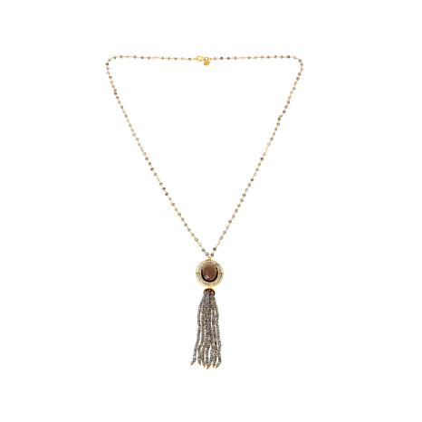 "Rarities Gray Labradorite and Smoky Quartz 30-1/2"" Tassel Necklace"