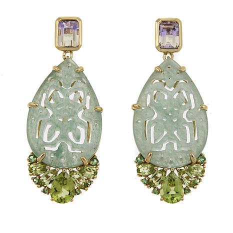 Rarities Green Aventurine and Multigemstone Drop Gold-Plated Earrings