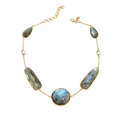 "Rarities Labradorite and Blue Topaz 16-1/2"" Cable-Chain Necklace"