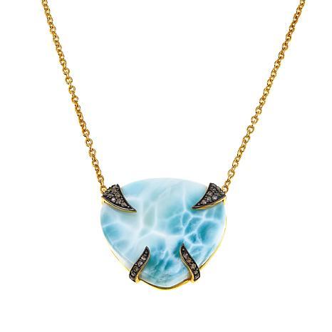 "Rarities Larimar and Champagne Diamond Drop 16-1/2"" Necklace"