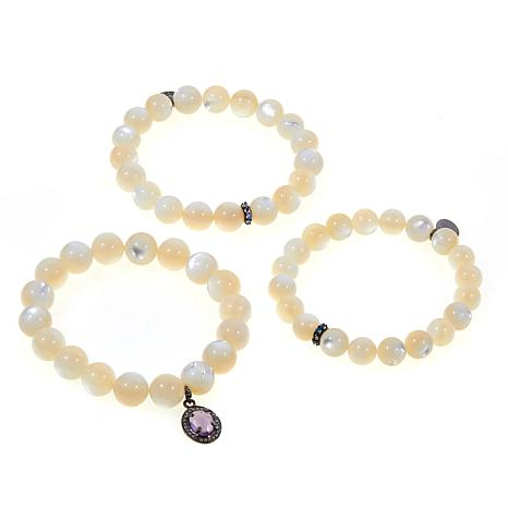 Rarities Mother-Of-Pearl and Gem Stretch Bracelet 3pk