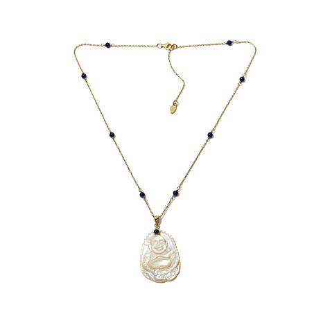 Rarities Mother-of-Pearl Buddha Pendant with Vermeil & Lapis Bead 1...