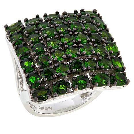 Rarities Multi-Row Chrome Diopside Square Ring