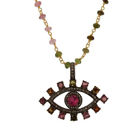 Rarities Multicolored Tourmaline and Diamond Evil Eye Necklace