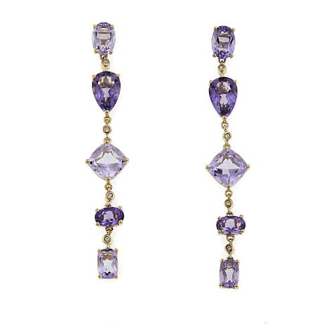 Rarities Multigemstone 5-Stone Linear Drop Gold-Plated Earrings