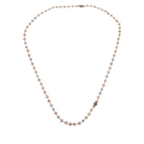 Rarities Peach Moonstone and Green Labradorite Beaded Necklace