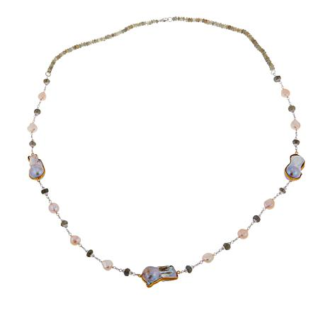 "Rarities Pearl, Amethyst and Labradorite Rolo-Chain 35"" Necklace"