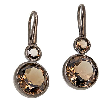 Rarities Rhodium-Plated Round Gem Drop Earrings