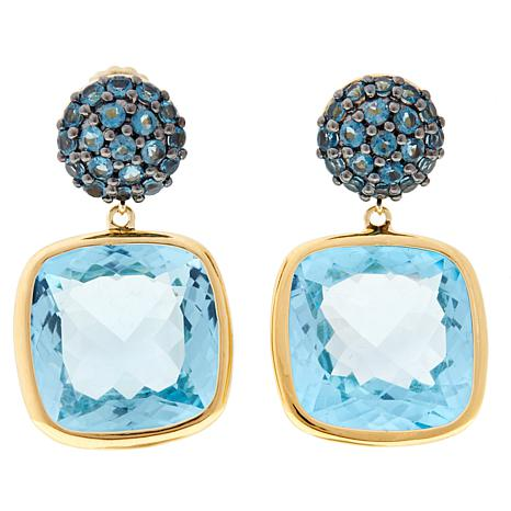 Rarities Round and Cushion-Cut Gemstone Drop Earrings