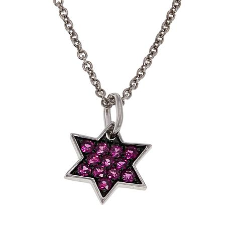 Rarities Sterling Silver 6-Pointed Gemstone Star Pendant Necklace