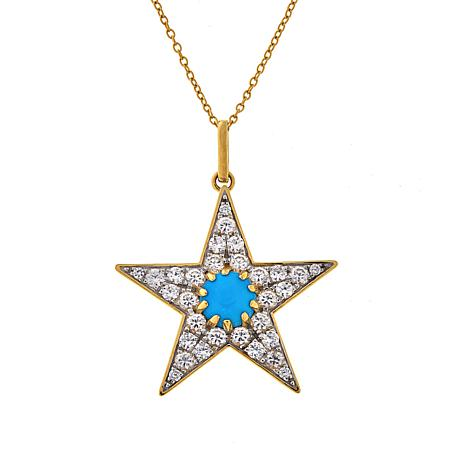 Rarities Turquoise and White Zircon Star Pendant Necklace