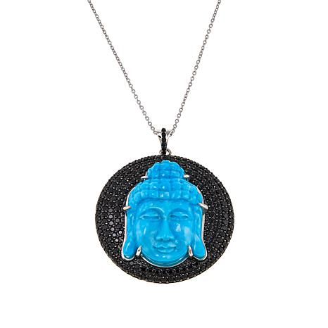 "Rarities Turquoise Buddha and Spinel Disc Pendant with 18"" Chain"