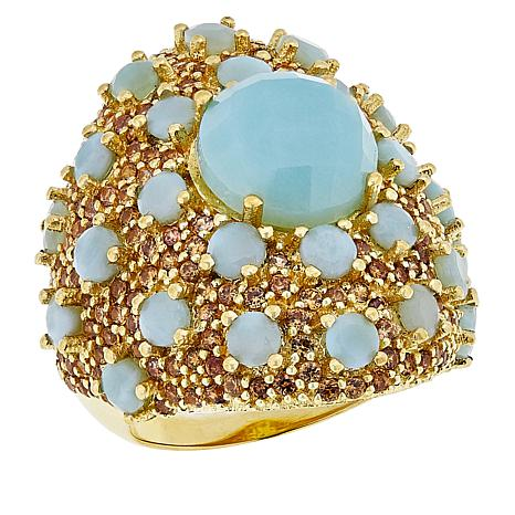 Rarities Vermeil Larimar and Champagne Zircon Cocktail Ring