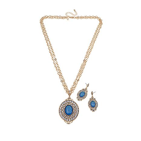 Real Collectibles by Adrienne® Blue Stone Jewelry Set