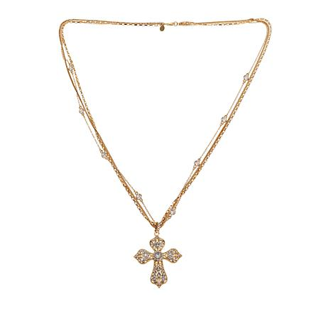 """Real Collectibles by Adrienne® Openwork Cross Pendant with 36"""" Chain"""