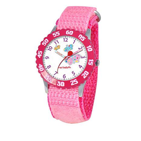 Red Balloon Kid's Time-Teacher Watch with Rotating Bezel - Pink