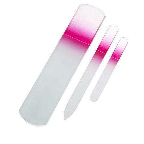 Regine 3-piece Mani-Pedi Czech Glass Nail File Set - Pink
