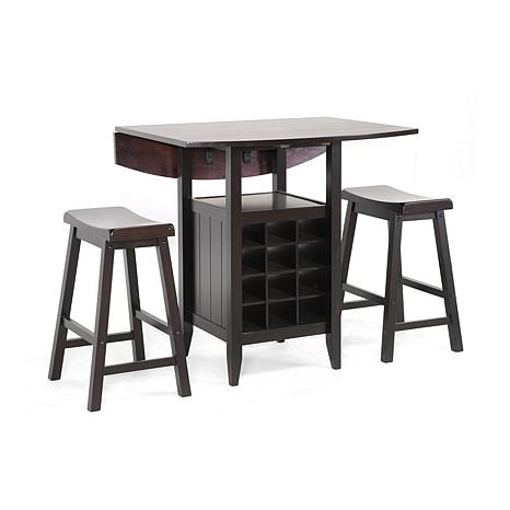 Charmant Reynolds Black Wood 3 Piece Modern Drop Leaf Pub Set With Wine Rack