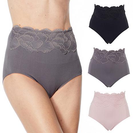 Rhonda Shear 3-pack Lace Trim Seamless Ahh Brief Panty