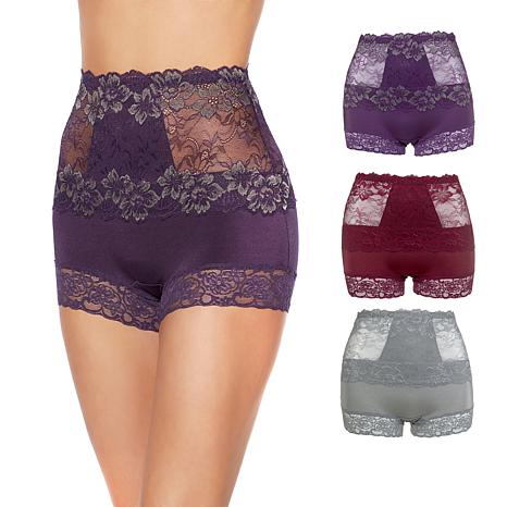 Rhonda Shear Lace Overlay Pin-Up Shortie 3-pack