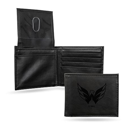 Rico NHL Laser-Engraved Black Billfold Wallet - Capitals