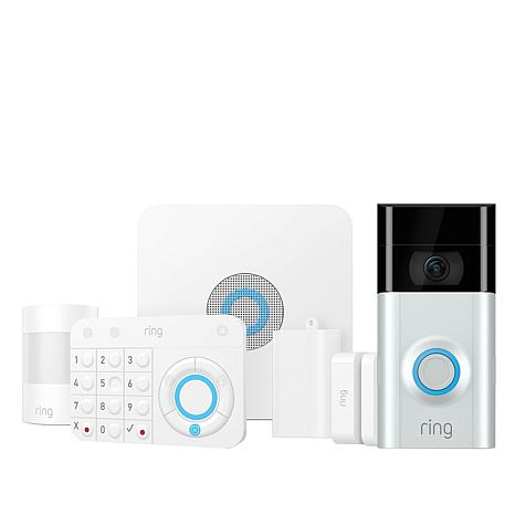 Ring Video Doorbell 2 with 5-piece Alarm Security System