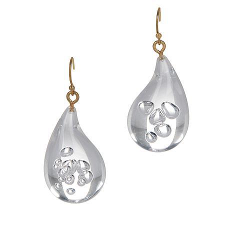 R.J. Graziano Clear Acrylic Pear Drop Earrings