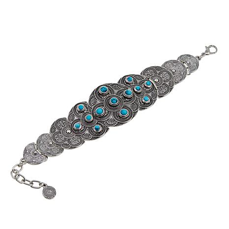 R.J. Graziano Simulated Turquoise Silvertone Station Bracelet
