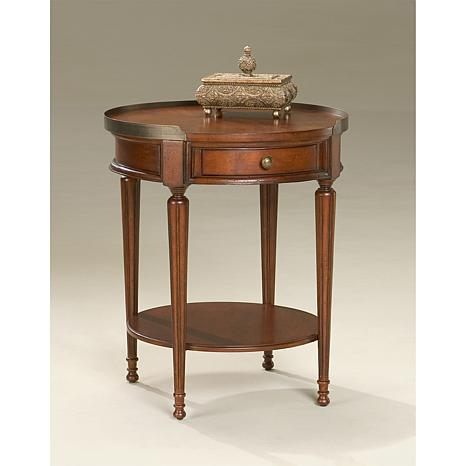 Round Solid Wood Accent Table with Gallery