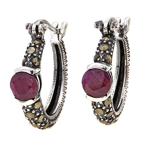 Ruby  and Gray Marcasite  Hoops - July
