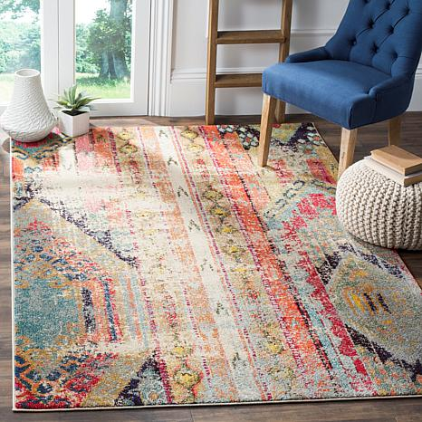 Bohemian rug. How to decorate or style your entry way.