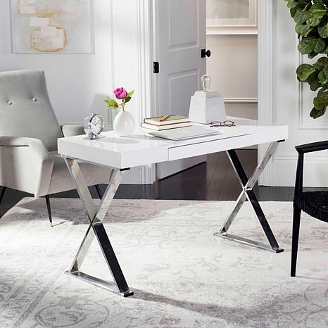 Safavieh Paley 47'' One Drawer Lacquer & Chrome Desk