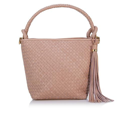 Sam Edelman Rhoda Woven Leather Crossbody Bucket Bag