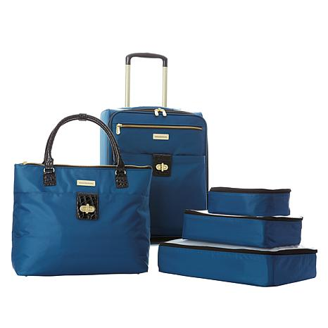 Samantha Brown 5pc Luggage Set with Spinner, Tote and Packing Cubes