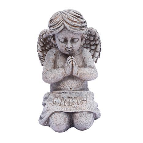 "Santa's Workshop ""Faith"" Kneeling Angel Statue - Grey"