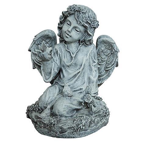 Santa's Workshop Grey Kneeling Angel with Dove Statue
