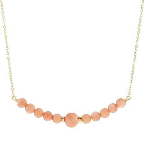 Séchic 14K Yellow Gold Pink Coral Bead Curved Bar Necklace