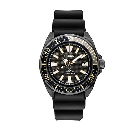 Seiko Men's Black Silicone Strap Automatic Watch