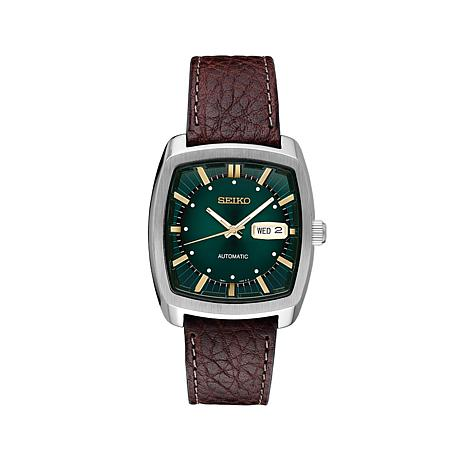 d00898b8f Seiko Men's Recraft Series Green Dial Leather Strap Automatic Watch -  8572370 | HSN