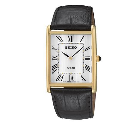 Seiko Men's Rectangular Dial Solar-Power Watch