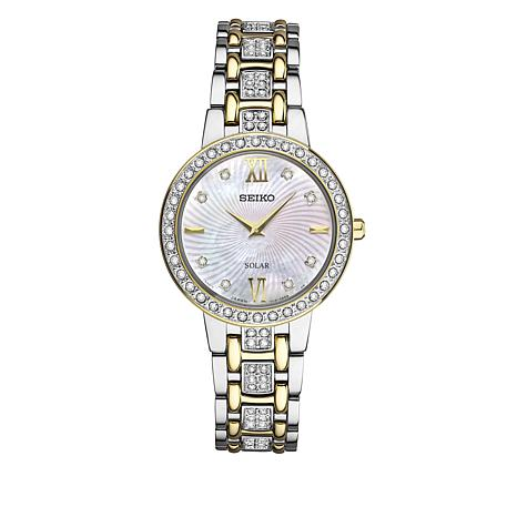 Seiko Women's 2-tone Mother-of-Pearl Dial Solar-Powered Bracelet Watch