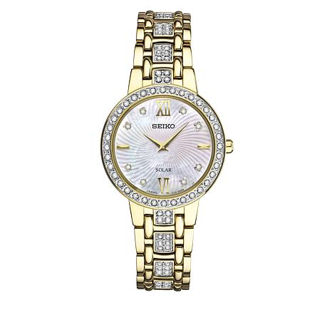 Seiko Women's Goldtone Crystal-Accented Mother-of-Pearl Dial Watch