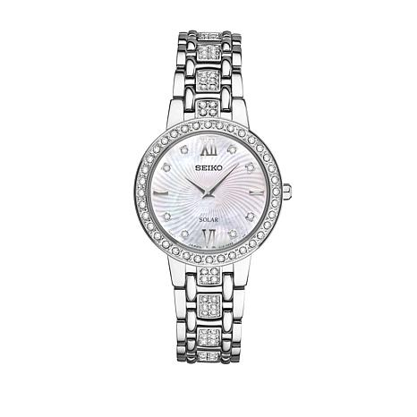 Seiko Women's Silvertone Crystal-Accented Mother-of-Pearl Dial Watch