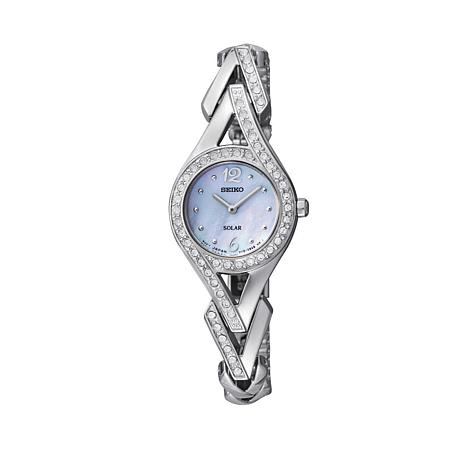 Seiko Women's Silvertone Crystal-Accented Solar-Powered Bracelet Watch
