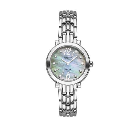 Seiko Women's Silvertone Mother-of-Pearl Dial Diamond-Accented Watch
