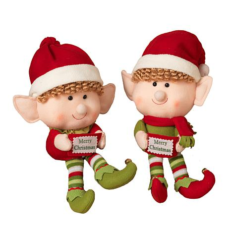 Set of 2 Plush Elves - 14""