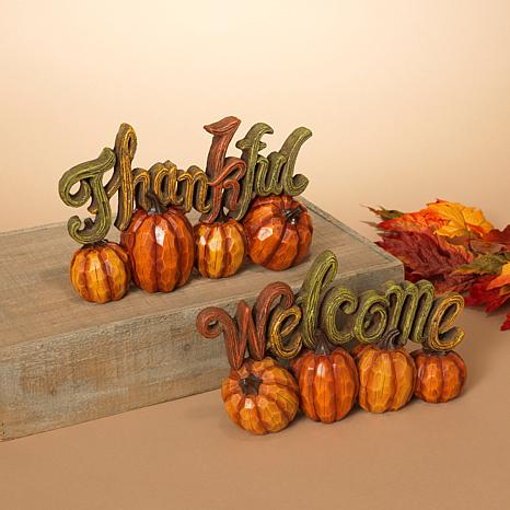 """Set of 2 Thanksgiving """"Welcome"""" and """"Thankful"""" Tabletop Pumpkin Décor"""