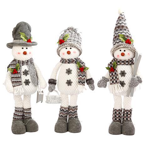 Set of 3 Assorted Poly-Cotton Plush Standing Snowmen